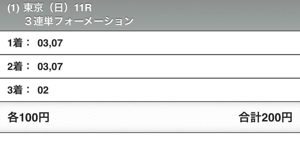 NHKマイルCの馬券(プールヴィルが抜けていた)