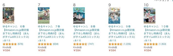 ゆるキャン△のkindle版(6〜10巻)