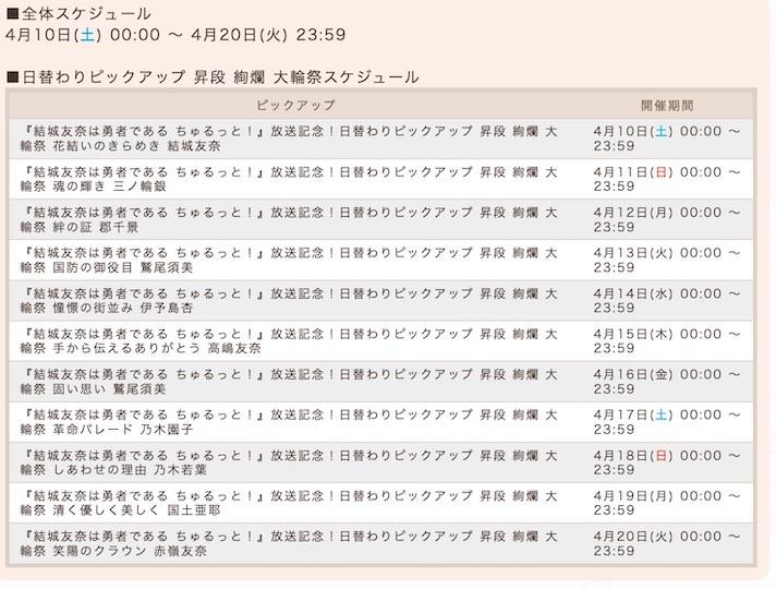 日替わりピックアップ昇段絢爛大輪祭のスケジュール